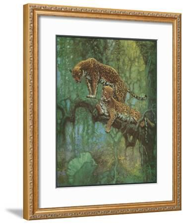 Nature Magazine - Two Leopards in a Tree, c.1932-Lantern Press-Framed Art Print