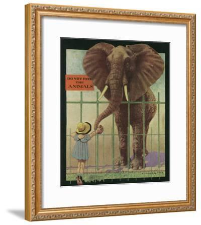 Nature Magazine - Little Girl Feeding Elephant, Do Not Feed Animals Sign, c.1932-Lantern Press-Framed Art Print