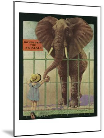 Nature Magazine - Little Girl Feeding Elephant, Do Not Feed Animals Sign, c.1932-Lantern Press-Mounted Art Print