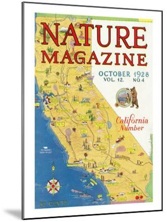 Nature Magazine - Detailed Map of California State with Scenic Spots to Visit, c.1928-Lantern Press-Mounted Art Print