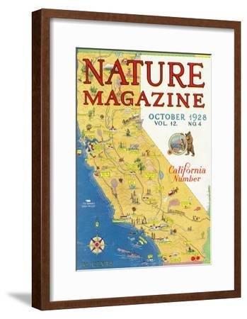 Nature Magazine - Detailed Map of California State with Scenic Spots to Visit, c.1928-Lantern Press-Framed Art Print