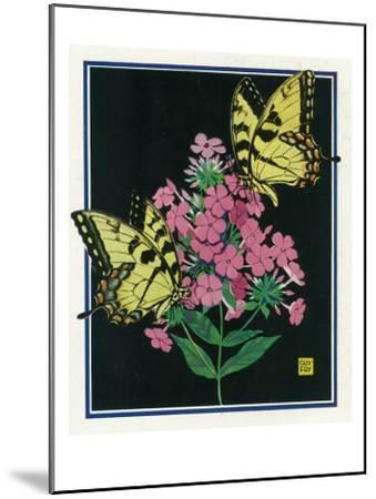 Nature Magazine - View of Butterflies on Blooming Flowers, c.1934-Lantern Press-Mounted Art Print