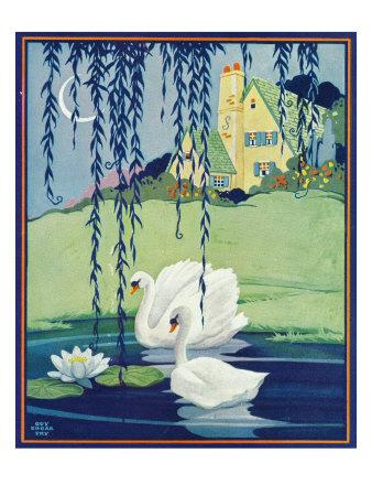 Nature Magazine - View of Two White Swans, c.1929-Lantern Press-Framed Art Print
