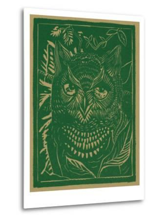 Nature Magazine - View of a Horned Owl in the Bushes, c.1941-Lantern Press-Metal Print