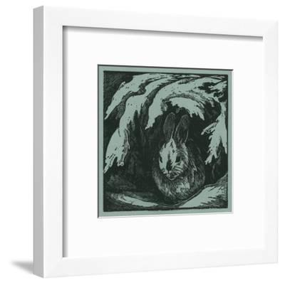 Nature Magazine - View of a Bunny under a Snowy Branch, c.1940-Lantern Press-Framed Art Print