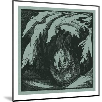 Nature Magazine - View of a Bunny under a Snowy Branch, c.1940-Lantern Press-Mounted Art Print