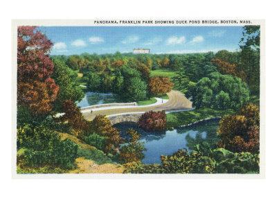 Boston, Massachusetts - Franklin Park Panoramic View of Duck Pond and Bridge, c.1935-Lantern Press-Framed Art Print