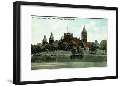 Worcester, Massachusetts - Exterior View of Holy Cross College Main Building, c.1908-Lantern Press-Framed Art Print