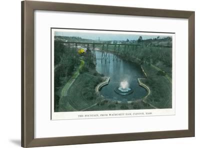 Clinton, Massachusetts - Aerial View of the Fountain from Wachusett Dam, c.1930-Lantern Press-Framed Art Print