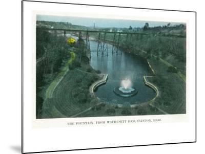 Clinton, Massachusetts - Aerial View of the Fountain from Wachusett Dam, c.1930-Lantern Press-Mounted Art Print