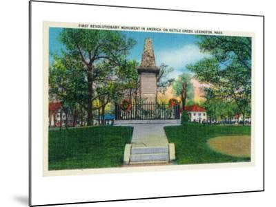 Lexington, Massachusetts - Battle Green Revolutionary Monument (America's First) View, c.1940-Lantern Press-Mounted Art Print