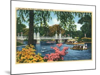 Boston, Massachusetts - View of Swan Boats in the Public Gardens Lake, c.1937-Lantern Press-Mounted Art Print