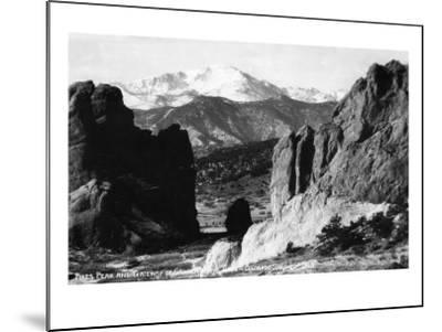 Colorado Springs, Colorado - View of Pikes Peak from Gateway to Garden of the Gods, c.1953-Lantern Press-Mounted Art Print