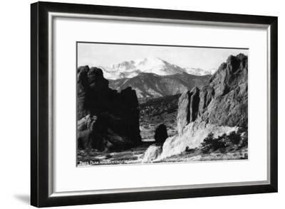 Colorado Springs, Colorado - View of Pikes Peak from Gateway to Garden of the Gods, c.1953-Lantern Press-Framed Art Print