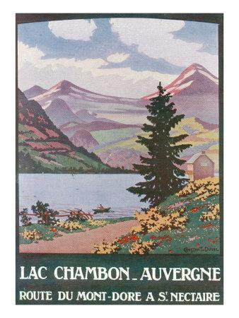 Auvergne, France - View of Lake Chambon Near Mont-Dore, c.1922-Lantern Press-Framed Art Print