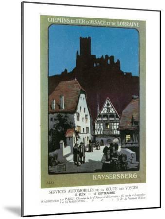 Kaysersberg, France - Scenic View of Town, Alsace and Lorraine Railway Postcard, c.1920-Lantern Press-Mounted Art Print