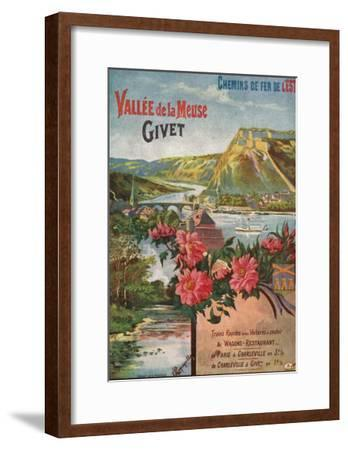 Givet, France - Scenic View of the Meuse River and Valley, Eastern Railways Postcard, c.1920-Lantern Press-Framed Art Print