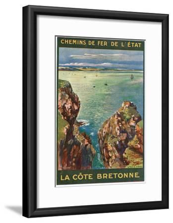 Brittany, France - Panoramic View of the Sea from Rocky Coast, State Railways Postcard, c.1920-Lantern Press-Framed Art Print