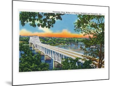 Alabama - View of the Tennessee River Bridge at Florence, Sheffield, and Tuscumbia, c.1947-Lantern Press-Mounted Art Print