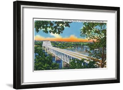 Alabama - View of the Tennessee River Bridge at Florence, Sheffield, and Tuscumbia, c.1947-Lantern Press-Framed Art Print