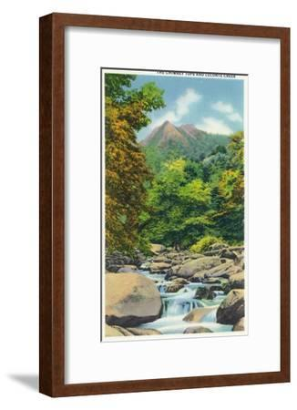 Great Smoky Mts. Nat'l Park, Tn - View of the Le Conte Creek and the Chimney Tops, c.1946-Lantern Press-Framed Art Print