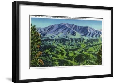 Great Smoky Mts. Nat'l Park, Tn - Panoramic View of Mt. Le Conte, c.1946-Lantern Press-Framed Art Print