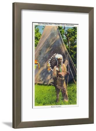 North Carolina - Qualla Cherokee Indian Reservation, View of Chief Standing Deer Posing, c.1936-Lantern Press-Framed Art Print