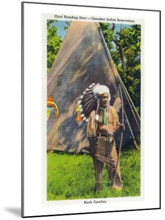 North Carolina - Qualla Cherokee Indian Reservation, View of Chief Standing Deer Posing, c.1936-Lantern Press-Mounted Art Print