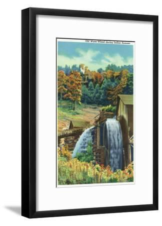 Great Smoky Mts. Nat'l Park, Tn - View of an Old Water-Wheel During Indian Summer, c.1940-Lantern Press-Framed Art Print