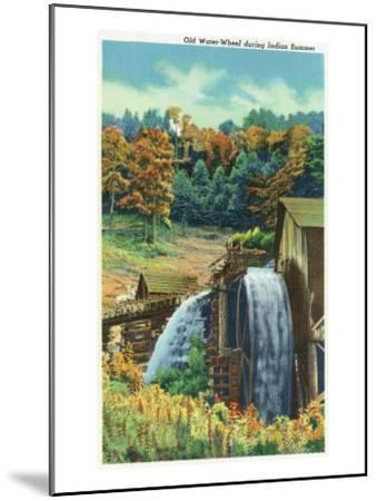 Great Smoky Mts. Nat'l Park, Tn - View of an Old Water-Wheel During Indian Summer, c.1940-Lantern Press-Mounted Art Print