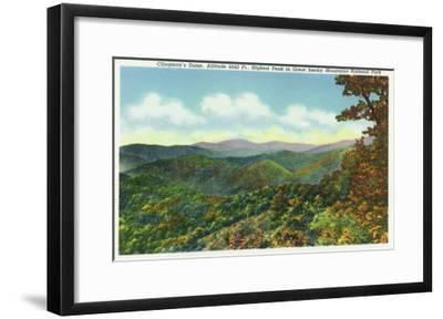 Great Smoky Mts. Nat'l Park, Tn - View of Clingman's Dome in the Autumn, c.1940-Lantern Press-Framed Art Print