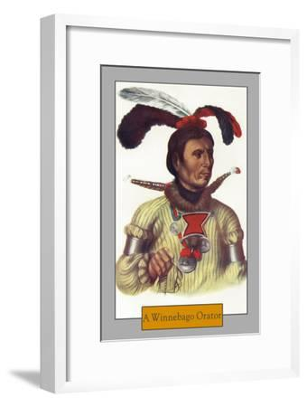 Portrait of a Winnebago Orator, c.1844-Lantern Press-Framed Art Print