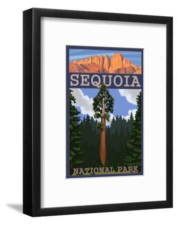 Sequoia Nat'l Park - Sequoia Tree and Palisades - Lp Poster, c.2009-Lantern Press-Framed Art Print