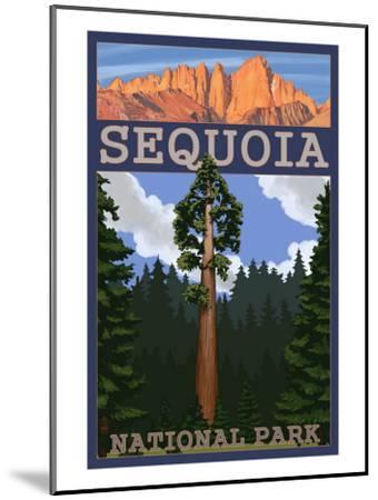 Sequoia Nat'l Park - Sequoia Tree and Palisades - Lp Poster, c.2009-Lantern Press-Mounted Art Print