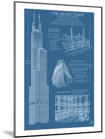 Sears Tower Blue Print - Chicago, Il, c.2009-Lantern Press-Mounted Art Print