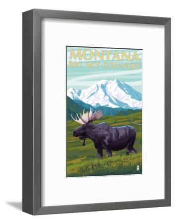 Moose and Mountain - Montana Big Sky Country, c.2009-Lantern Press-Framed Art Print