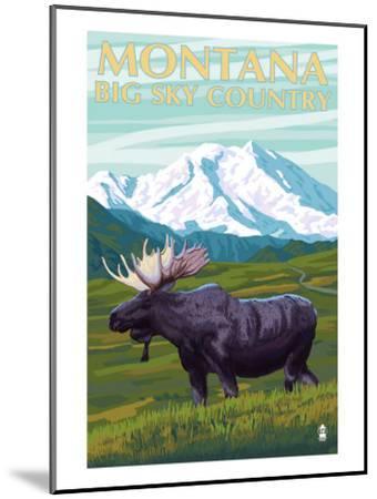Moose and Mountain - Montana Big Sky Country, c.2009-Lantern Press-Mounted Art Print