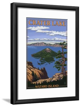 Crater Lake, Oregon - Wizard Island View, c.2009-Lantern Press-Framed Art Print