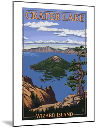 Crater Lake, Oregon - Wizard Island View, c.2009-Lantern Press-Mounted Art Print