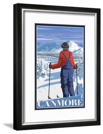Canmore, Alberta - Skier Admiring View, c.2009-Lantern Press-Framed Art Print