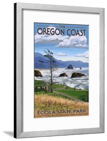 Cannon Beach from Ecola State Park, or, c.2009-Lantern Press-Framed Art Print