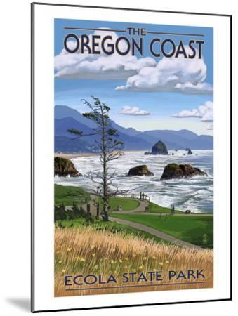 Cannon Beach from Ecola State Park, or, c.2009-Lantern Press-Mounted Art Print