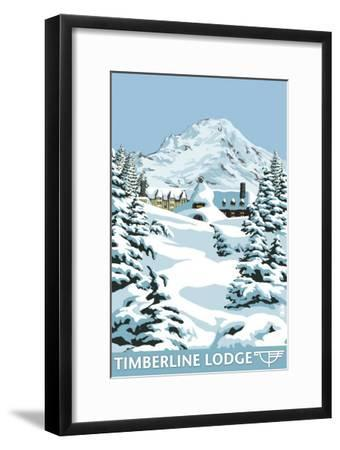 Timberline Lodge - Winter - Mt. Hood, Oregon, c.2009-Lantern Press-Framed Art Print