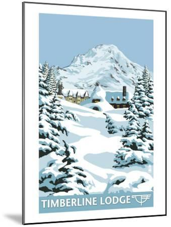 Timberline Lodge - Winter - Mt. Hood, Oregon, c.2009-Lantern Press-Mounted Art Print
