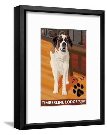 Timberline Lodge - Bruno - Mt. Hood, Oregon, c.2009-Lantern Press-Framed Art Print