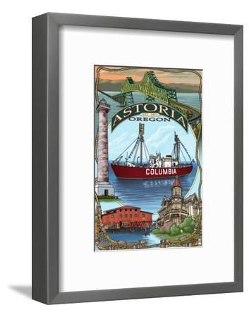 Astoria, Oregon Montage, c.2009-Lantern Press-Framed Art Print