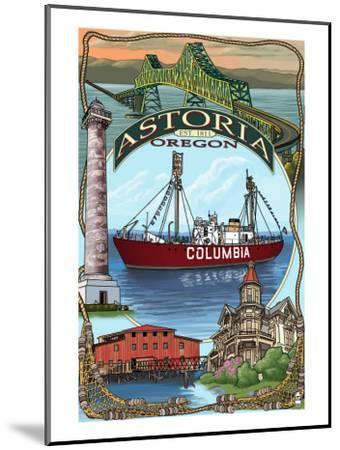 Astoria, Oregon Montage, c.2009-Lantern Press-Mounted Art Print