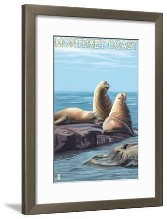 Monterey Coast, California - Sea Lions, c.2009-Lantern Press-Framed Art Print