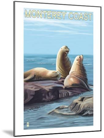 Monterey Coast, California - Sea Lions, c.2009-Lantern Press-Mounted Art Print