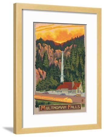 Multnomah Falls View with Train, c.2009-Lantern Press-Framed Art Print